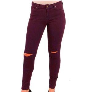 Just Black purple ripped knee skinny jeans